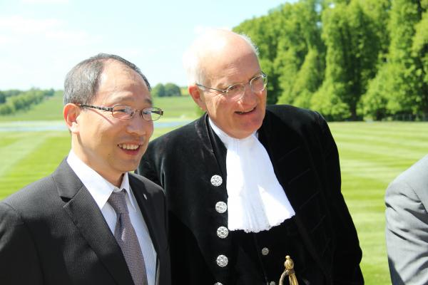 James Ting (left) from Pou Chen Group with High Sheriff of Northamptonshire Nicholas Robertson at Boughton House