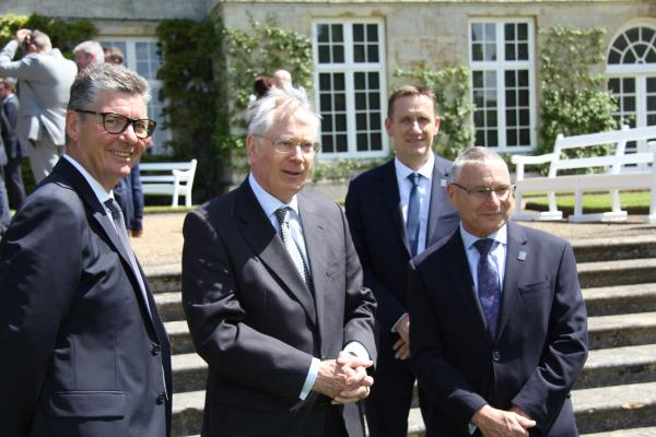 SATRA chairman Stephen Etheridge (left) with HRH The Duke of Gloucester at Boughton House