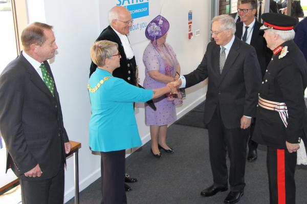 HRH The Duke of Gloucester is introduced to Mayor of Kettering Keli Watts at SATRA