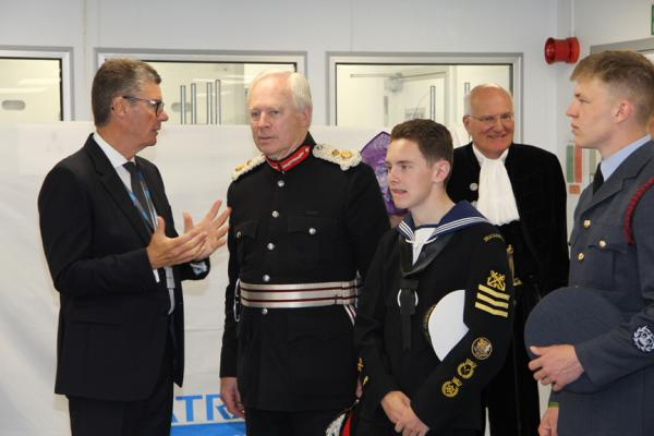 SATRA chairman Stephen Etheridge (left) with HM Lord-Lieutenant of Northamptonshire David Laing